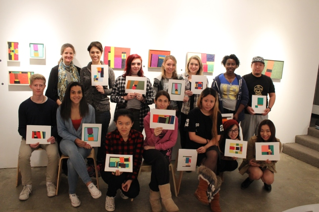 Foundation Students create Color-aid paper studies of Roy Newell paintings in the Steinberg Museum of Art, LIU Post